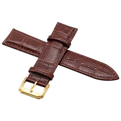 AUTULET Genuine Leather Padded Watch Band for Dress Dark Brown -