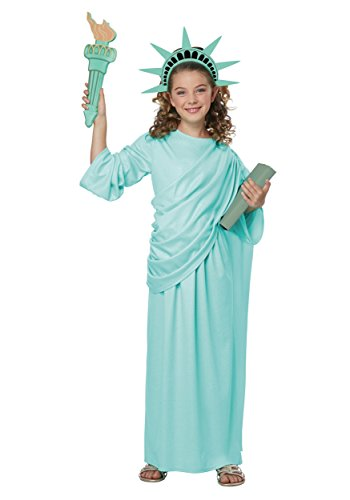 California Costumes Lady Usa  Landmark Statue Of Liberty Girls Costume  Mint Green  Medium
