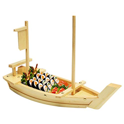 Bamboo Boat (100% Natural Bamboo Wooden Sushi Tray Serving Boat Plate for Home or Restaurant - Japanese Sushi Boat (22