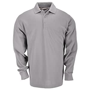 5.11 Tactical Tall Men's Long-Sleeve Professional Polo, Heather Grey, X-Small