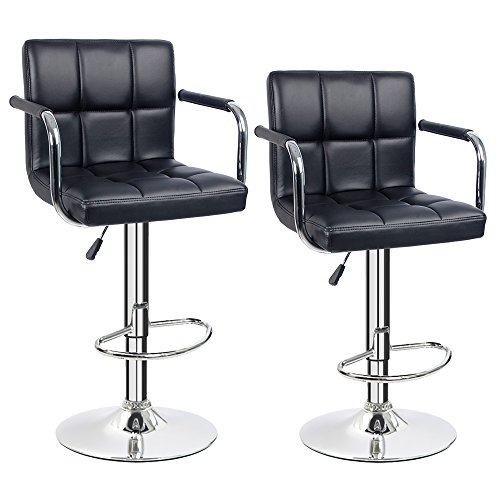 Furmax Black Leather Bar Stools Counter Height Modern Adjustable Synthetic Leather Swivel Bar Stool,Set of 2 (Black-w/Armrest) - Modern High Back Bar Stool