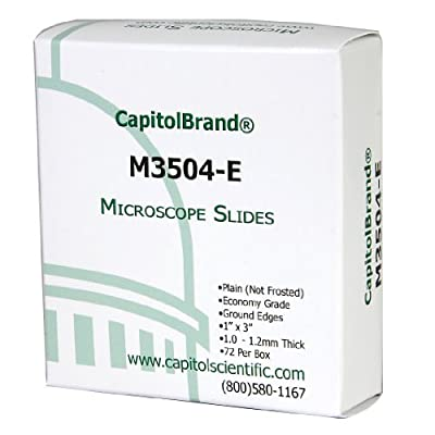 "CapitolBrand M3504-E Borosilicate Glass Economy Grade Plain Microscope Slides, 3"" Length x 1"" Width x 1mm Thick (Box of 72) from CapitolBrand"