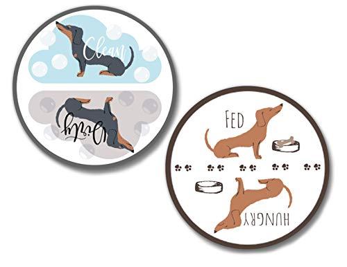 - Dishwasher Magnet Clean Dirty Sign 2 1/2 inch Dachshund Weiner Dog Theme Flip Indicator