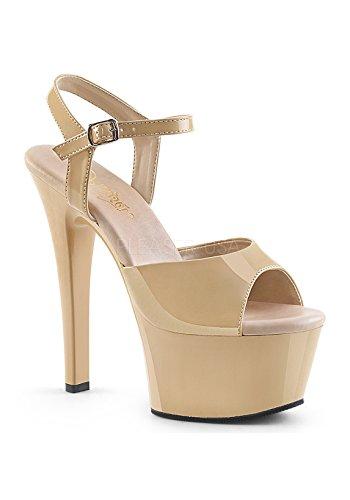 Pleaser Women's Asp609/R/M Platform Sandal Cream Pat/Cream 1tAaIOJv
