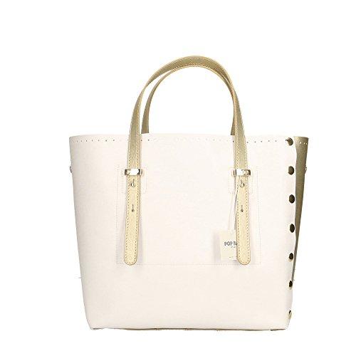 main cuir Saffiano 28x27x13 Impression Cm Italy Made véritable Or femme Sac in Blanc Or à POP en Bags 7SRORY