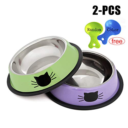 Legendog 2Pcs Cat Bowl Pet Bowl Stainless Steel Cat Food Water Bowl Non-Slip Rubber Base Small Pet Bowl Cat Feeding Bowls Set (Green+Purple)