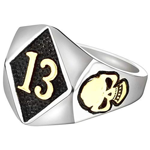 HIJONES Men's Stainless Steel No. 13 Gothic Skull Ring Biker Silver Gold Band, Gold Size 13