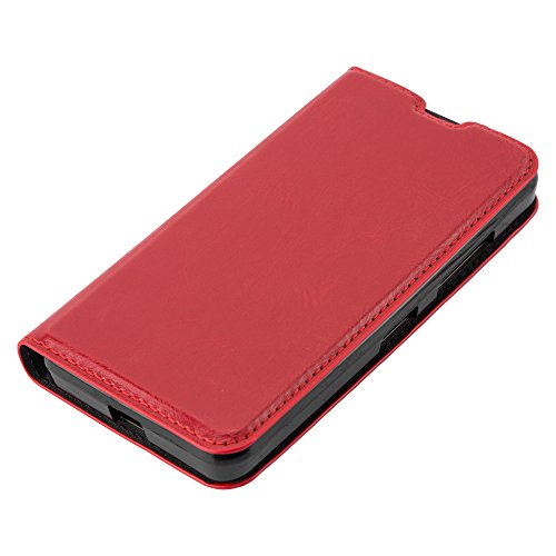 Cadorabo Case works with Nokia Lumia 550 Book Case in APPLE RED (Design INVISIBLE CLOSURE) – with Magnetic Closure, Stand Function and Card Slot – Wallet Case Etui Cover PU Leather by Cadorabo (Image #7)