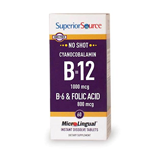 Superior Source B12/B6 /Folic Acid Multivitamin, 1000 mcg/2 mg/800 mcg, 60 ()