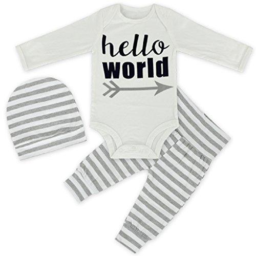 (Rush Dance Baby Boutique Hello World Boys Girls 3 pcs Hat, Pants & Onesie Set (9-12 Months, Gray Stripes))