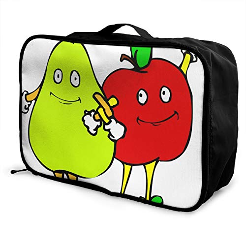 Travel Bags Cute Pear And Apple Portable Suitcase Vintage Trolley Handle Luggage Bag