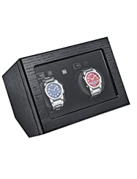 BOXY WOODEN DOUBLE WATCH WINDER - Black Oak Grain