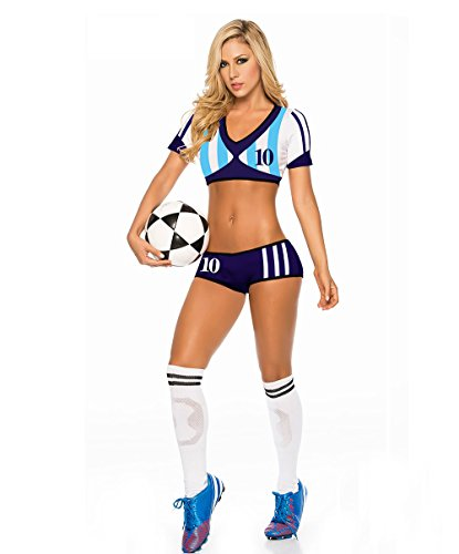02d58cdab Cheerleading Uniform for Womens Sexy Football Short Sleeve Shirt Sets Stage  Uniform cosplay party halloween (Argentina Blue)