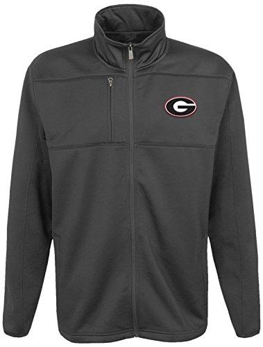 NCAA Georgia Bulldogs Men's Superior Bonded Full Zip Fleece Jacket, Charcoal Grey, Men's Large by Gen 2