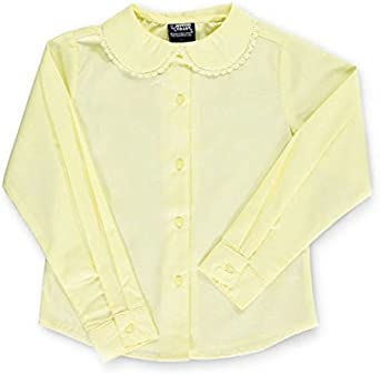 French Toast Little Girls L//S Blouse with Lace Edging