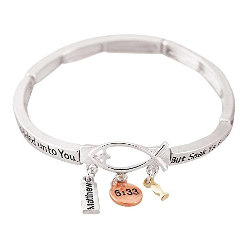 But Seek Ye First Christian Fish With Charms Silver-Plated Women's Stretch Bangle Bracelet