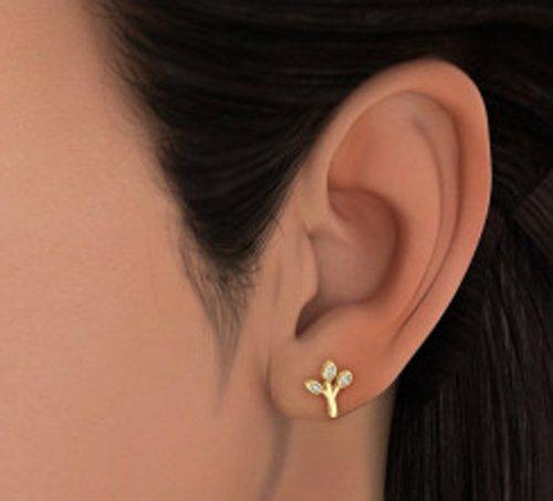 14K jaune Or 0,04CT TW White-diamond (IJ | SI) Boucles d'oreille à tige