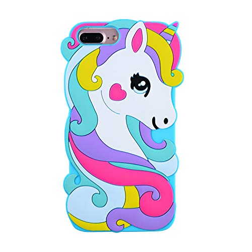 TopSZ Rainbow Unicorn Case for iPhone 8 Plus,6/7 Plus 5.5,Cute Silicone 3D Cartoon Cool Kawaii Animal Cover,Shockproof Soft Rubble Skin,Unique Character Cases for Kids Girls Teens boy Guys (7 Plus)