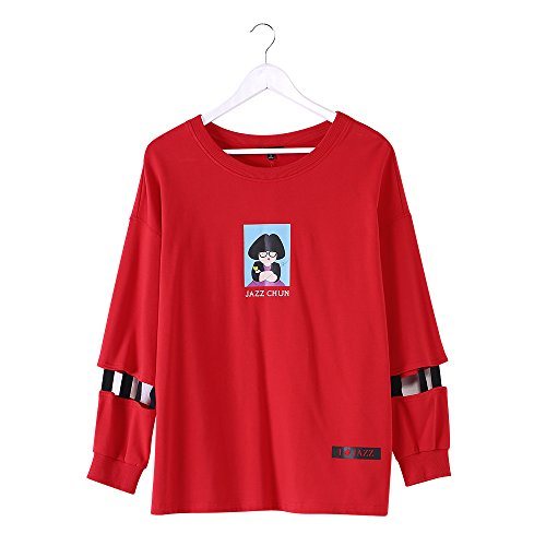 MSSHE Women's Plus Size Carton Printed Splicing Sleeve Sweatshirt