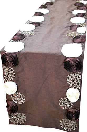 褐色テーブルランナー40 x 300 cm, チョコレートアイボリーサテンリボンの花のスパンコール刺繍褐色  チョコレートバラシルクエレガントな結婚式のテーブルのリネンモダンなカーペット 40 x 300 cm  B07CXYTWQ3