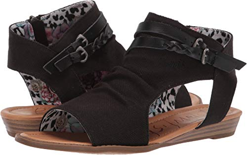 Blowfish Malibu Womens Blumoon Sandals, Black Rancher Canvas/Dyecut Pu, 8.5 M US
