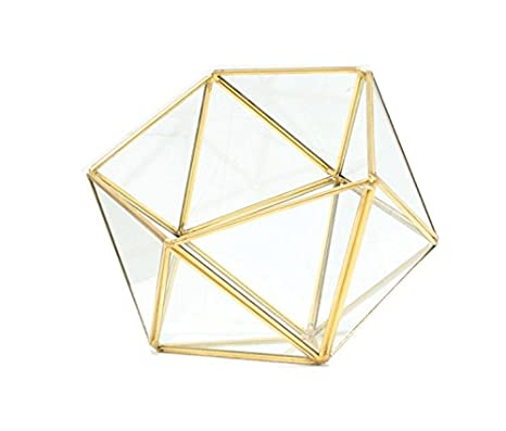 Amazon Com Bella S Garden Gold Geometric Glass Terrarium Container