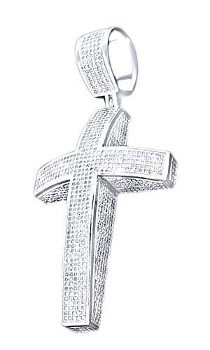 White Cubic Zirconia Men's Hip Hop Cross Pendant Necklace In 14k White Gold Over Sterling Silver by AFFY