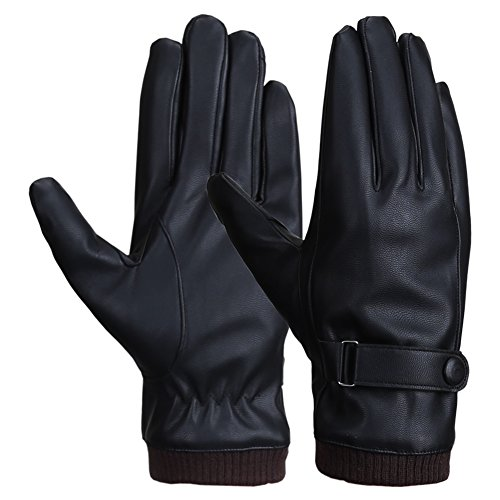 Men Winter Touchscreen Texting PU Leather Gloves with Wool Lining Black (For Hand Gloves Winter)