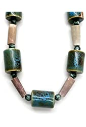 Seraphinite Necklace 07 Ceramic Sea Urchin Green Gemstone Beaded Chunky (Gift Box, 18 Inches)