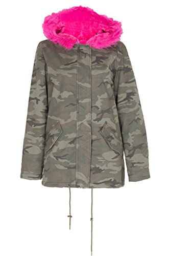 NOROZE Femmes Faux Rose Fourrure Parka Manteau Capuche Blouson Veste Camouflage