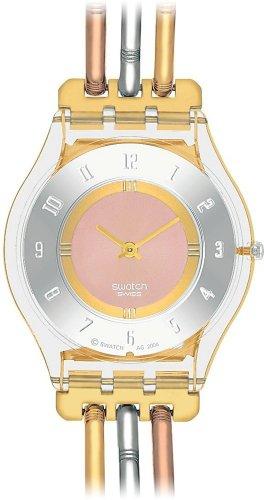 Swatch SKIN – Reloj analógico de mujer de cuarzo con correa de acero inoxidable multicolor – sumergible a 30 metros