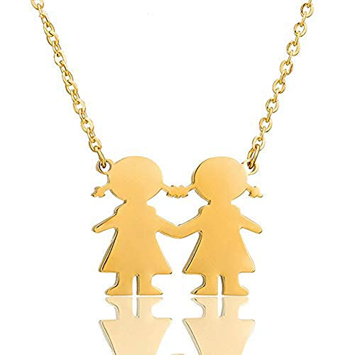 AILUOR Son Daughter Two Kids Twins Family Pendant Necklace Jewelry 18
