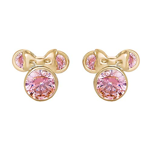 Disney Minnie Mouse 10K Gold Birthstone Stud Earrings, June Light Pink Cubic Zirconia; Mickey's 90th Birthday Anniversary