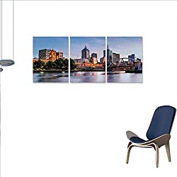 Anniutwo City Canvas Wall Art Set Early Morning Scenery in Melbourne Australia Famous Yarra River Scenic Wall Stickers 16x24x3pcs Orange Green Pale Blue