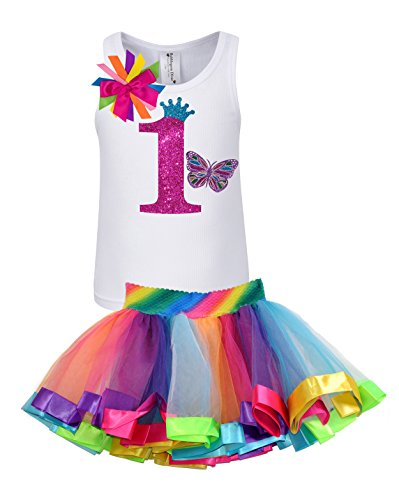 Bubblegum Divas Baby Girls 1st Birthday Butterfly Rainbow...