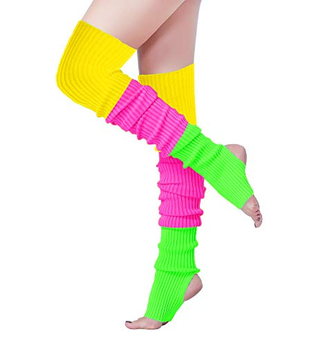 V28 Women Winter 80s Eighty's Warm Costume Marathon Knit Long Socks Leg Warmers (THole80-Mix3hml) ()