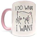 I Do What I Want - 11oz Grade A Quality Ceramic Two Tone Pink / White Ceramic Mug / Cup - Perfect Funny Gift