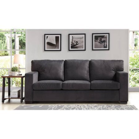 Better Homes and Gardens Oxford Square Sofa, Charcoal | Hardwood Legs Stained in an Elegant Espresso Finish