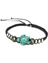 Turtle Hemp Bracelet-Black Bracelet with Turtle in Turquoise Color-Hawaiian Sea Turtle Bracelet-Hemp Bracelet
