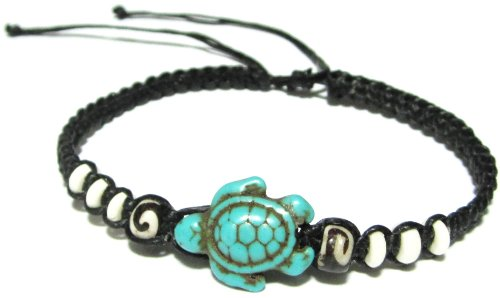 Turtle Hemp Bracelet-Black Bracelet with Turtle in Turquoise Color-Hawaiian Sea Turtle Bracelet-Hemp Bracelet
