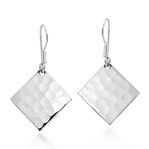 Handcraft Hammered Earrings (Hammer Texture Tilted Square .925 Sterling Silver Earrings)
