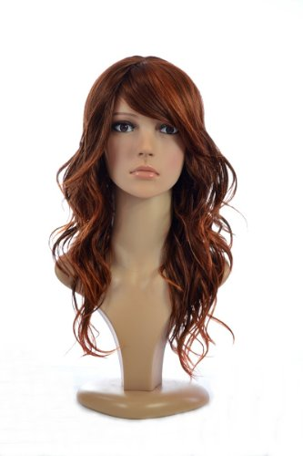Redhead Ombre Two Tone Curly Human Hair Blend Wig | Sideswept Fringe (Redhead Wigs)