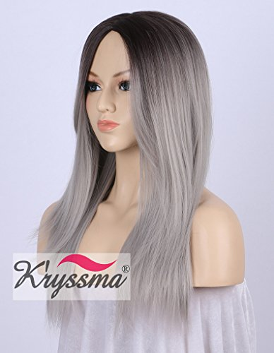 K'ryssma Ombre Gray 2 Tones Synthetic Wigs for Women Natural Looking Dark Roots Long Straight Grey Silver Wig Middle Part Heat Resistant