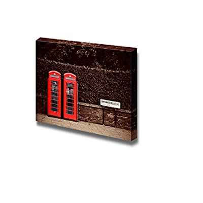 Canvas Prints Wall Art - Red Telephone Booth/Box in London Street Vintage/Retro Style | Modern Wall Decor/Home Decoration Stretched Gallery Canvas Wrap Giclee Print & Ready to Hang - 32