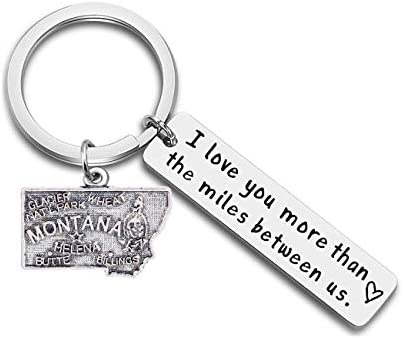 JJTZX I Love You More Than The Miles Between Us Long Distance Relationship State Map Keychain Going Away Gift Travel Gift