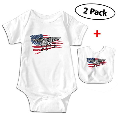 Wadeworth US Navy Seals Logo America Flag Unisex-Baby Cotton Short Sleeve Lap Neck Rompers Outfits One-Piece Bodysuits 2T White