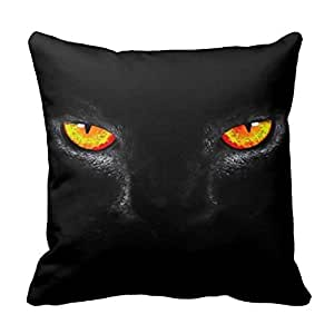 Decor Pillow Cover 16 X 16inch Black Cat Eyes Watercolor Art Plush Throw Pillowcase