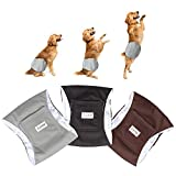 Luxja Reusable Male Dog Diapers (Pack of 3), Washable Puppy Belly Band, Black+Gray+Coffee(Large)