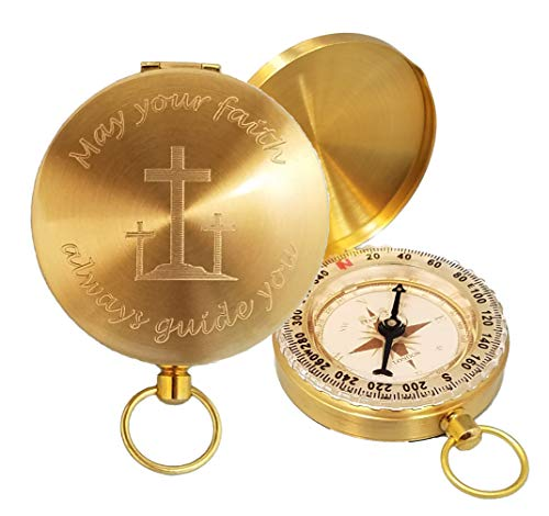 (Stanley London Engraved May Your Faith Always Guide You Brass Pocket Compass, Personalized Baptism/Confirmation Gift (Engraved Compass Only))