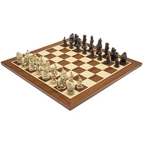 [해외]버클리 체스 앨리스의 이상한 나라의 라 세트 > 마호가니 체스 세트 / The Berkeley Chess Alice in Wonderland Russet & Mahogany Chess Set